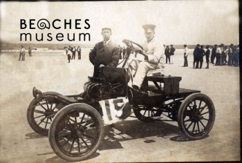 Mr. John E. Gilbert and another man pictured with four cylinder Franklin no. 15. Mr. Gilbert won a silver trophy for racing at 80 miles per hour