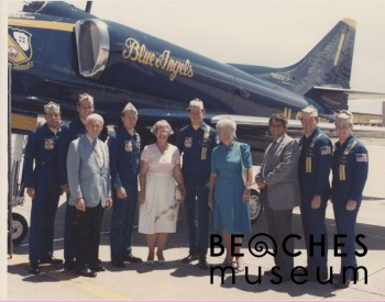 Jean H. McCormick visits with the Blue Angels pilots